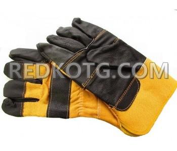 Ръкавици Докерски лицева кожа  - жълти