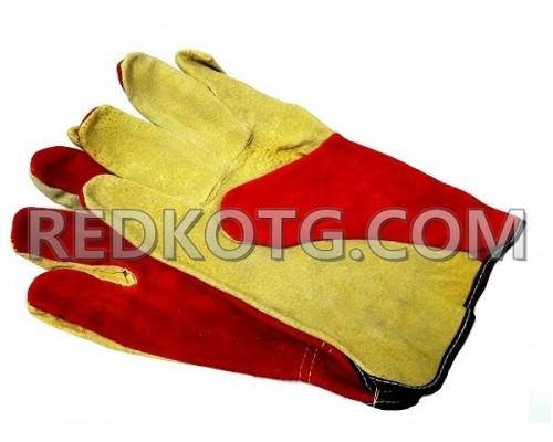 Ръкавици цепена телешка кожа червени